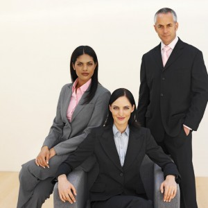 Front view portrait of three business executives