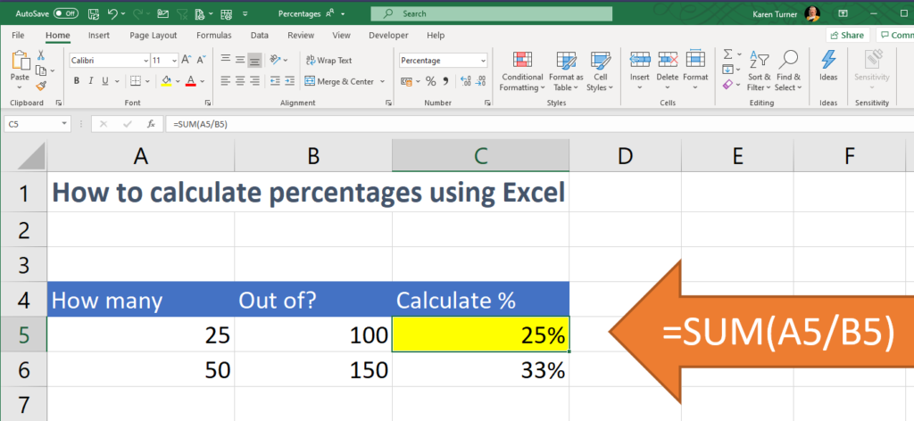 spreadsheet showing percentages